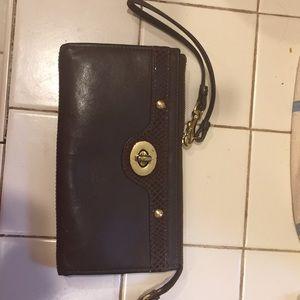 Coach wristlet wallet brown